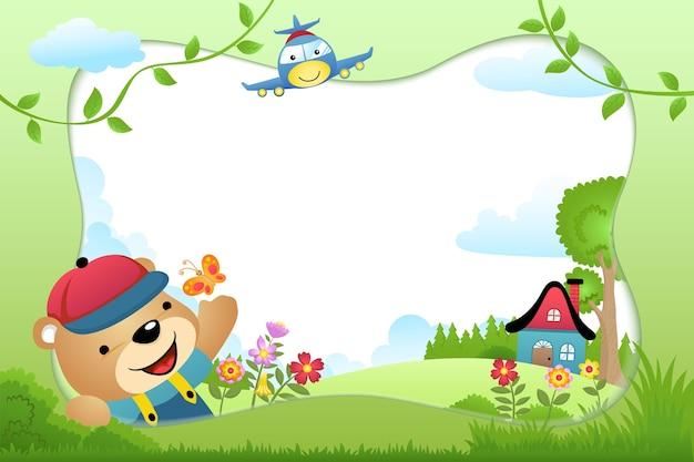 Cartone animato di confine cornice con orso e un aereo sullo sfondo della natura Vettore Premium