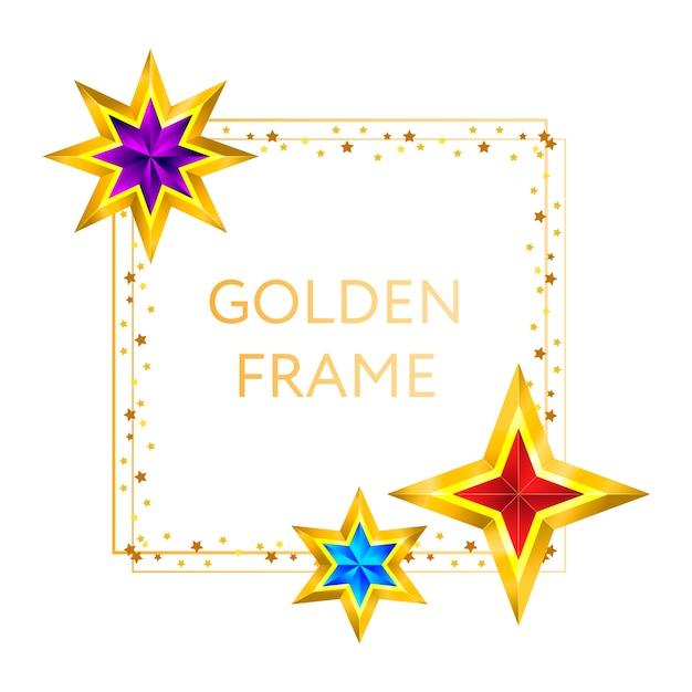 Cornice stelle dorate su sfondo capodanno natale Vettore Premium