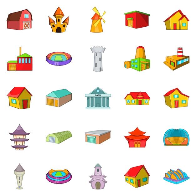 Set di icone di cornice, stile cartoon Vettore Premium
