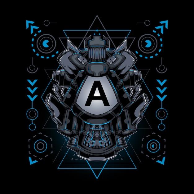 Frame geometria sacra stile cyborg robotico iniziale Vettore Premium