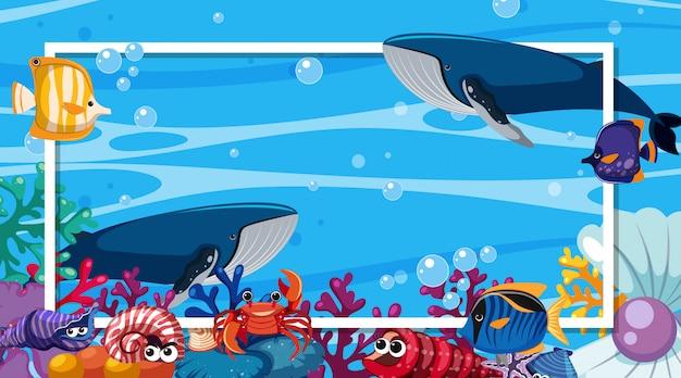 Design del modello di cornice con creature marine sotto l'oceano Vettore Premium
