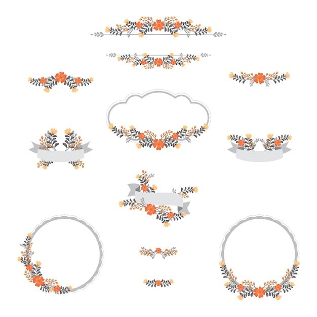 Cornice matrimonio vintage design floreale Vettore Premium