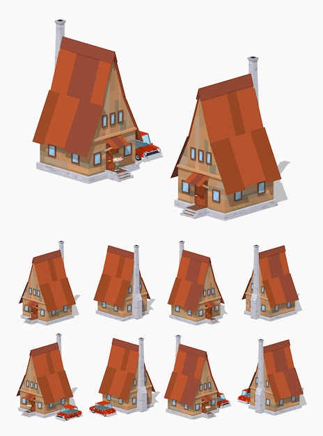 Casa isometrica lowpoly in legno a-frame 3d Vettore Premium
