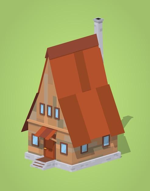 Casa in legno a-frame. illustrazione isometrica di vettore lowpoly 3d Vettore Premium