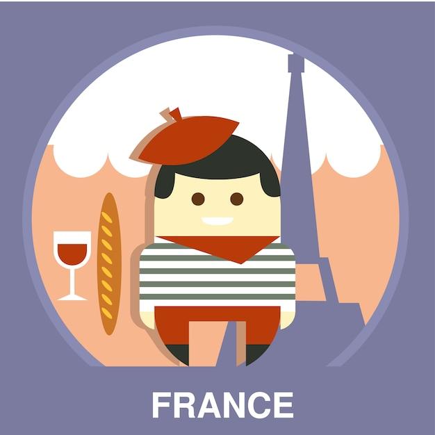 Francia residente su illustrazione tradizionale Vettore Premium