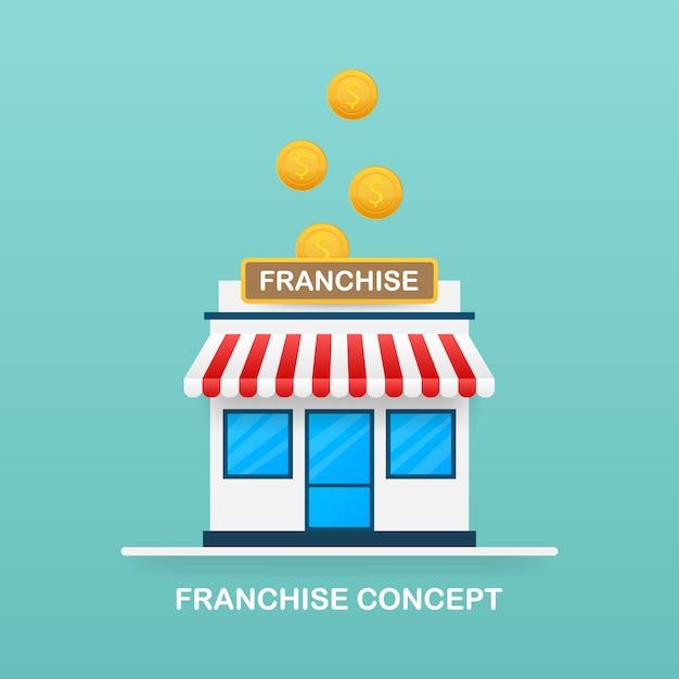 Concetto di business in franchising, sistema di marketing in franchising. Vettore Premium