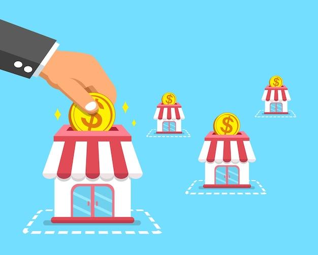 Mano di concetto di affari di concessione che mette moneta nei depositi Vettore Premium
