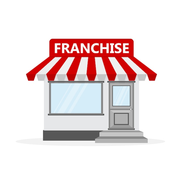 Concetto di business in franchising. illustrazione. Vettore Premium