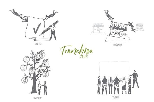 Illustrazione di schizzo di concetto di formazione in franchising Vettore Premium