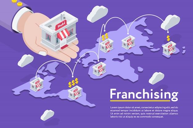 Catena di franchising sulla mappa Vettore Premium