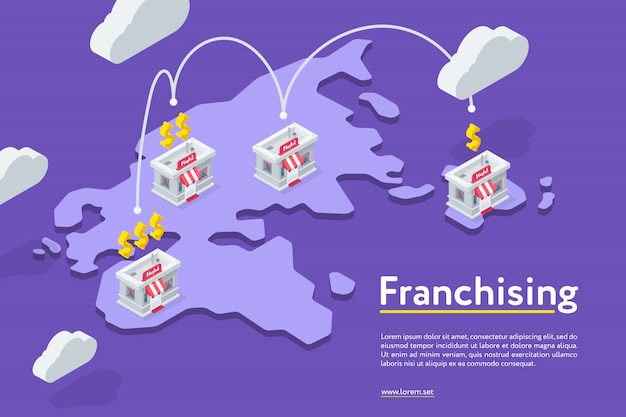 Catena di negozi in franchising su viola Vettore Premium
