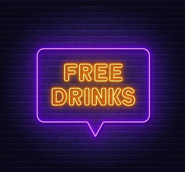 Bevande gratuite insegna al neon nella cornice della bolla di discorso sul fondo del muro di mattoni. Vettore Premium