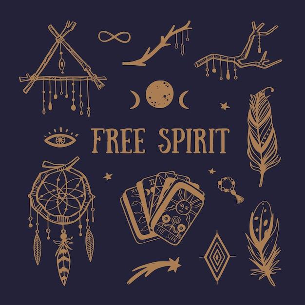 Collezione boho spirito libero. acchiappasogni, piume, tarocchi e altri simboli mistici Vettore Premium