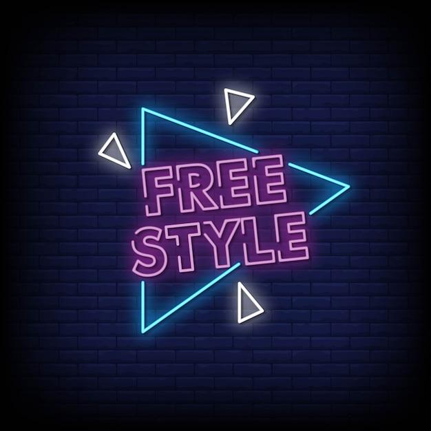 Vettore libero del testo di stile delle insegne al neon di stile Vettore Premium