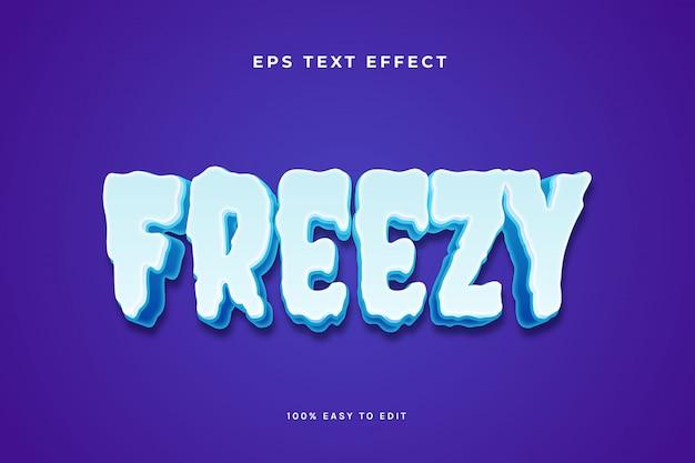 Effetto di testo di ghiaccio freddo congelato Vettore Premium