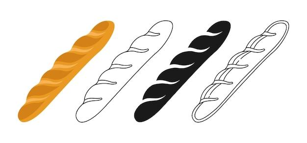 Set di clipart baguette francese Vettore Premium