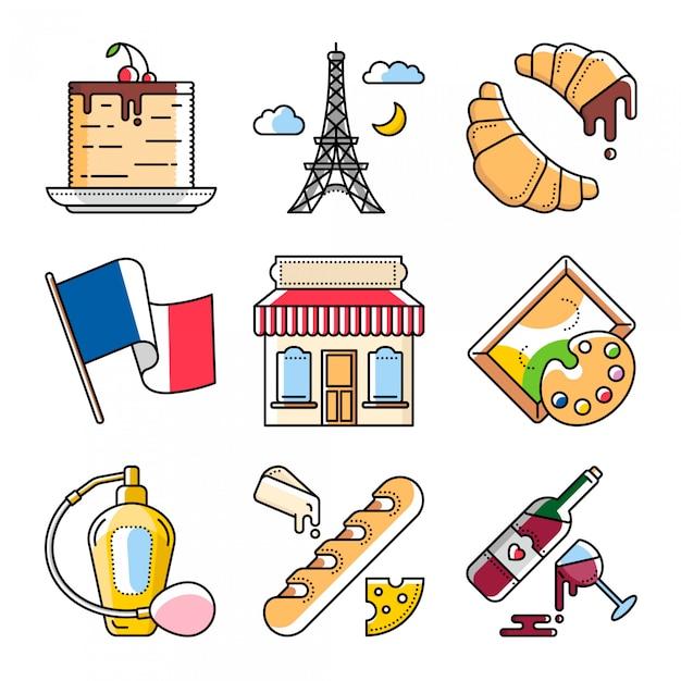 Cultura francese e cibo, illustrazioni vettoriali Vettore Premium