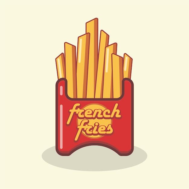 Logo di patatine fritte Vettore Premium