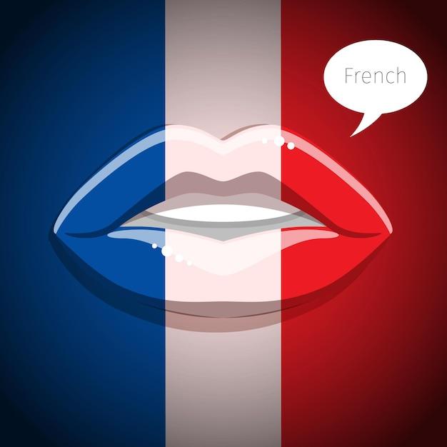 Concetto di lingua francese. labbra glamour con il trucco della bandiera francese, volto di donna. design piatto, illustrazione vettoriale. Vettore Premium