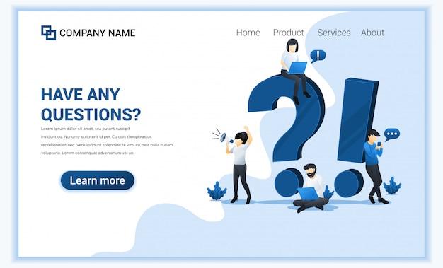 Il concetto di domanda frequente con le persone lavora vicino al grande punto esclamativo e al punto interrogativo. Vettore Premium
