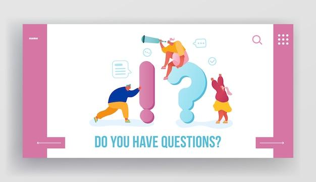 Pagina di destinazione del sito web di domande frequenti. Vettore Premium