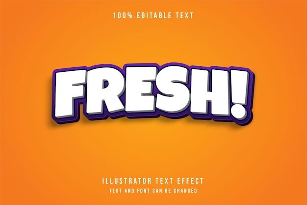 Fresco, effetto di testo modificabile 3d bianco effetto stile viola gradazione Vettore Premium