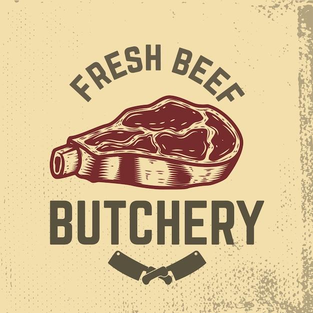Manzo fresco. la macelleria. carne cruda disegnata a mano su sfondo grunge. elementi per menu ristorante, poster, emblema, segno. illustrazione. Vettore Premium