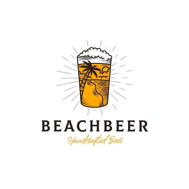Modello di logo estivo di birra fresca Vettore Premium
