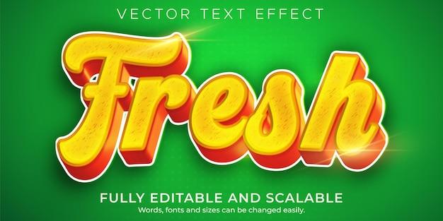 Effetto di testo di cibo fresco, stile di testo organico verde Vettore Premium