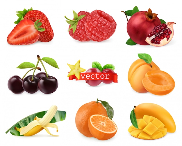 Frutta e bacche fresche fragola, lampone, melograno, ciliegia, albicocca, banana, arancia, mango. set realistico 3d Vettore Premium