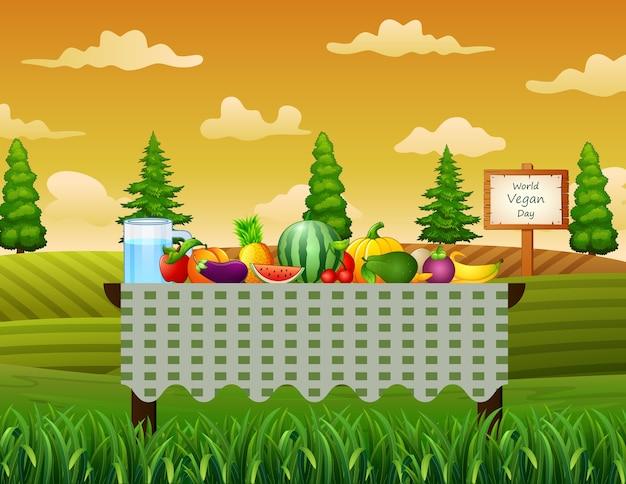 Frutta fresca sul tavolo in background giardino Vettore Premium