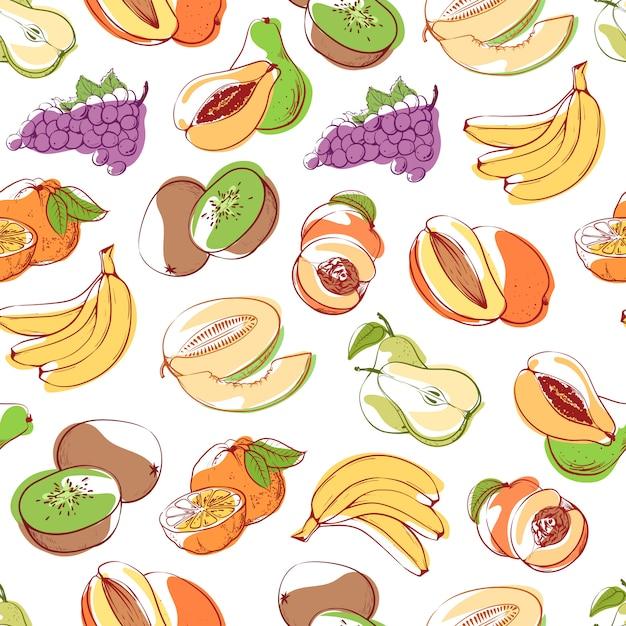 Frutta fresca sul modello senza cuciture del fondo bianco Vettore Premium