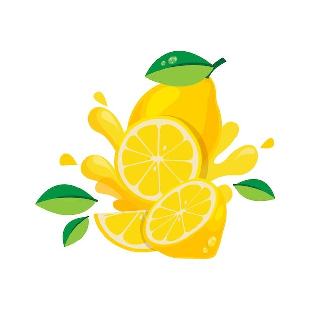 Frutta fresca del limone isolata nella progettazione piana Vettore Premium