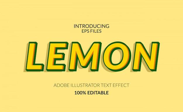 Colore giallo limone fresco. testo modificabile e effetto carattere. adatto per succhi o eventi estivi Vettore Premium