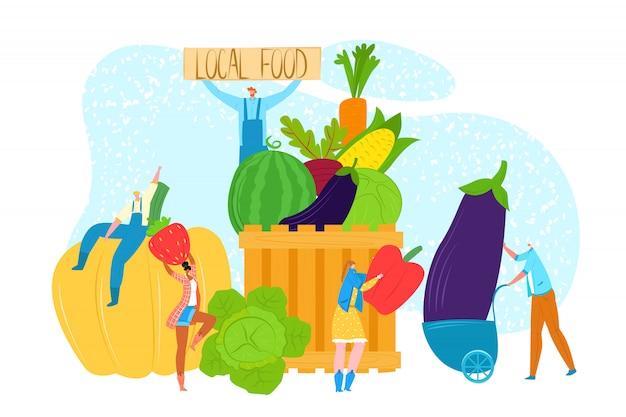 Concetto di cibo locale fresco, illustrazione. il carattere della persona sceglie la verdura stagionale sana organica al mercato dell'azienda agricola. uomo donna persone in agricoltura, agricoltura naturale. Vettore Premium