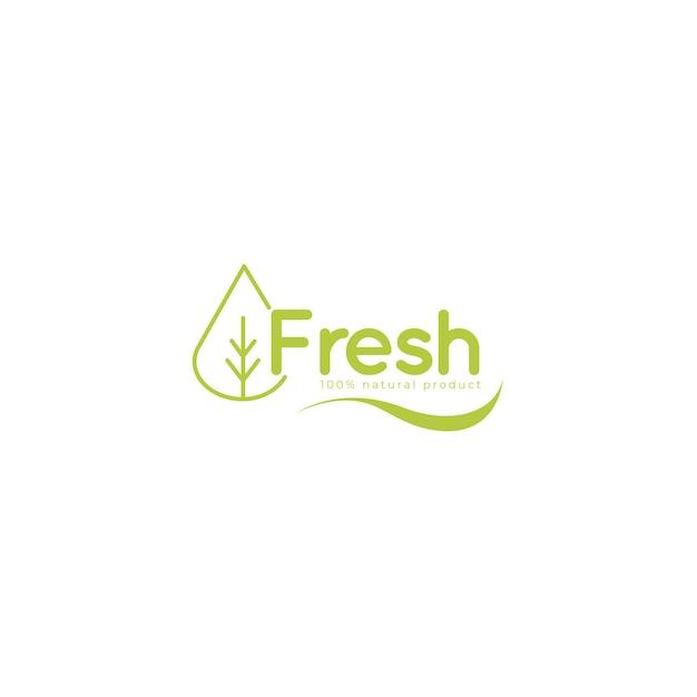 Logo fresco con modello di foglie Vettore Premium