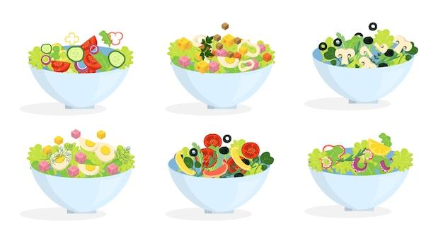 Set di insalata biologica fresca. cena sana a base di verdure Vettore Premium