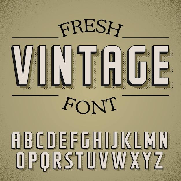 Poster di carattere vintage fresco sull'illustrazione di rumore polveroso Vettore Premium