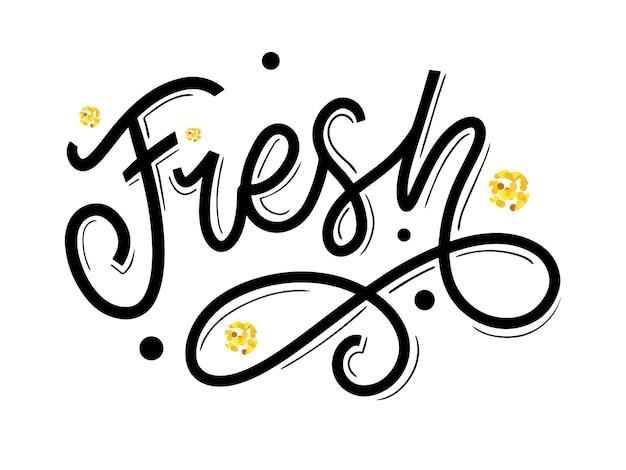 Scritte a mano parola fresca. eco slogan calligrafia a mano Vettore Premium