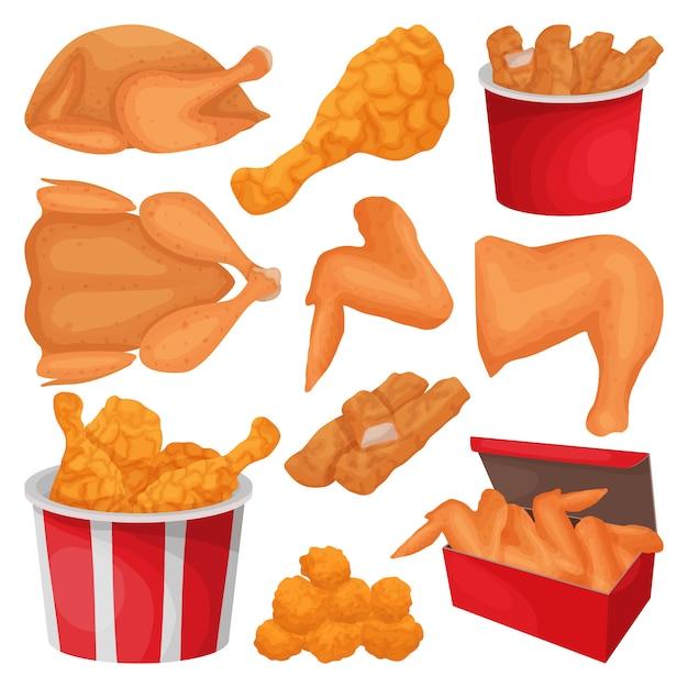 Icona stabilita del fumetto isolata pollo fritto. Vettore Premium