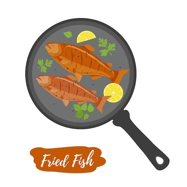 Pesce fritto sulla padella Vettore Premium