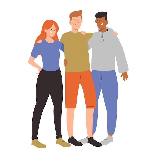Amici che abbracciano il concetto di giorno della gioventù Vettore Premium