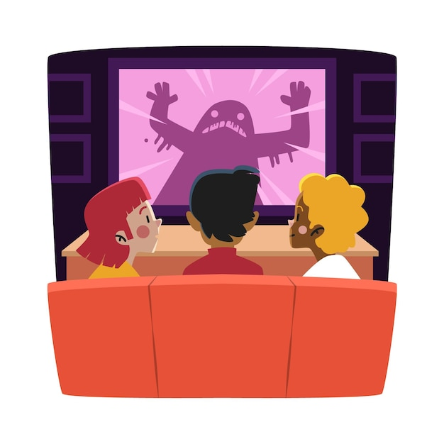 Amici che guardano un film a casa Vettore Premium