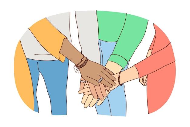 Concetto di partenariato di leadership di lavoro di squadra di affari di amicizia Vettore Premium