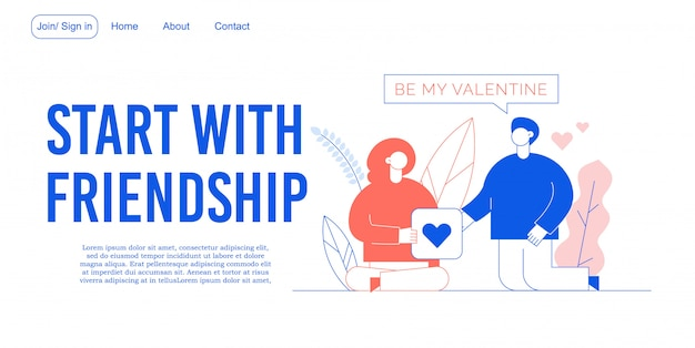 Pagina di destinazione della costruzione del rapporto di amicizia Vettore Premium