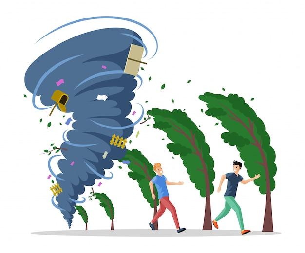 Uomini spaventati che corrono dall'illustrazione piana di uragano. disastro naturale, torsione del tornado Vettore Premium