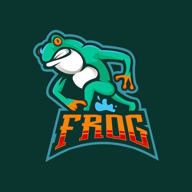 Logo della mascotte di rana esport Vettore Premium