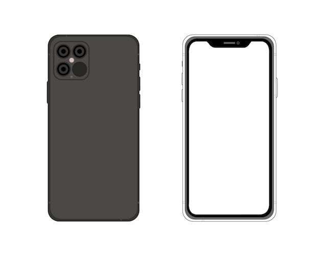 Lato anteriore e posteriore iphone 12. semplice illustrazione grafica. icona smartphone isolato su sfondo. concetto per app, web, presentazione, sviluppo ui ux. Vettore Premium