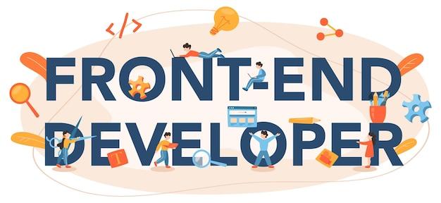 Intestazione tipografica dello sviluppatore front-end Vettore Premium