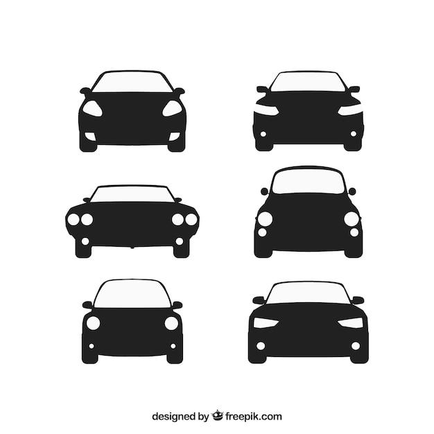 Vista frontale di automobili Vettore Premium